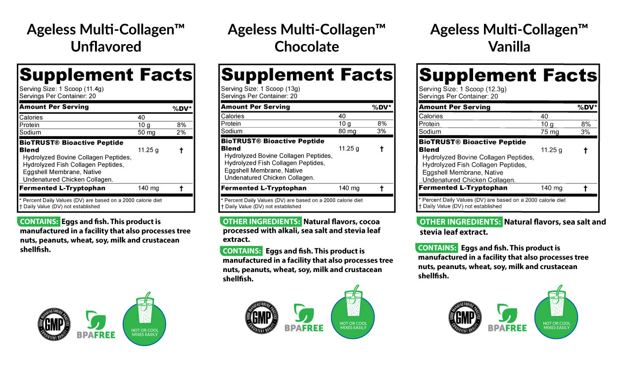 Ageless Multi-Collagen All Flavors Supplement Facts