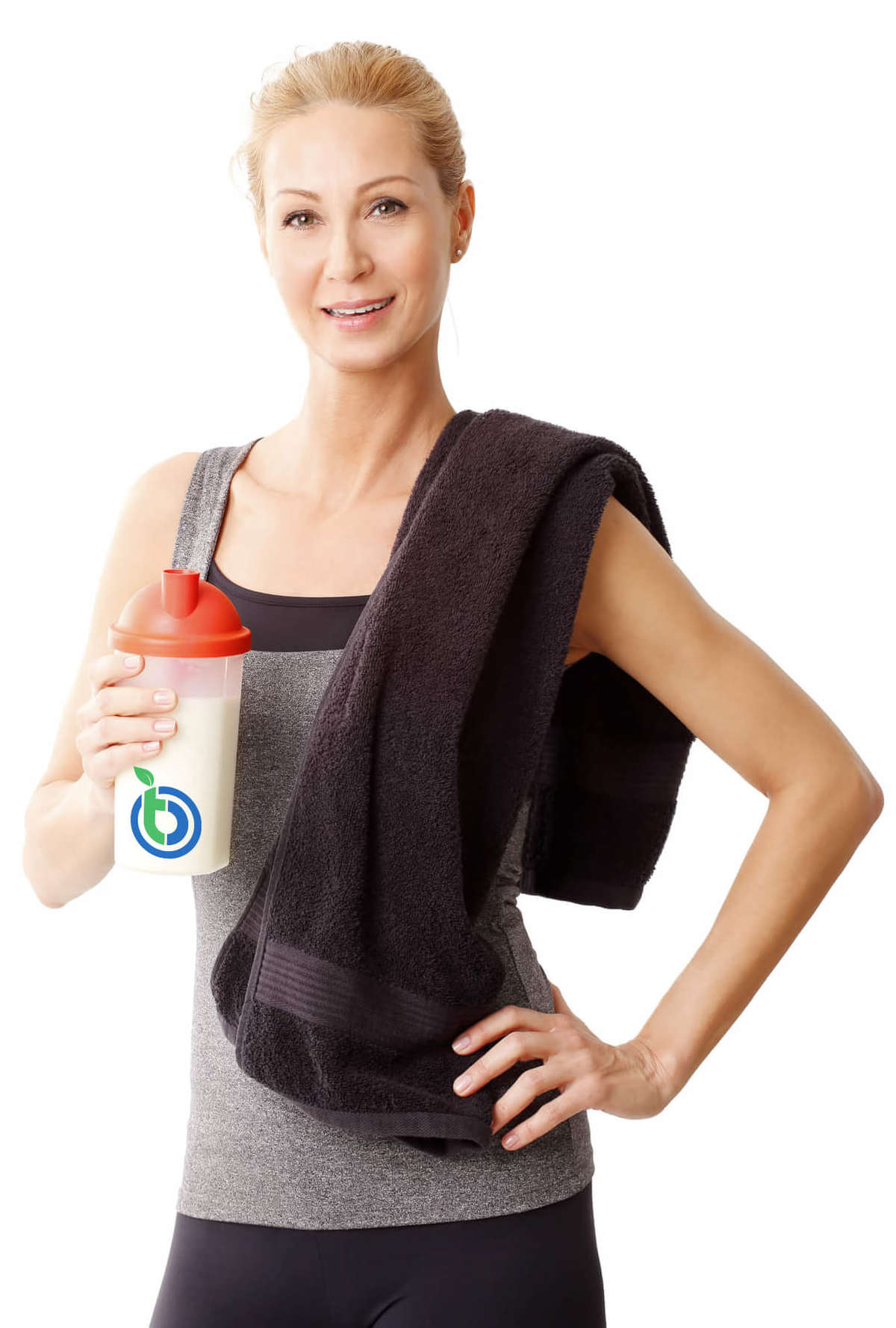 Working Out Woman with Blender Bottle