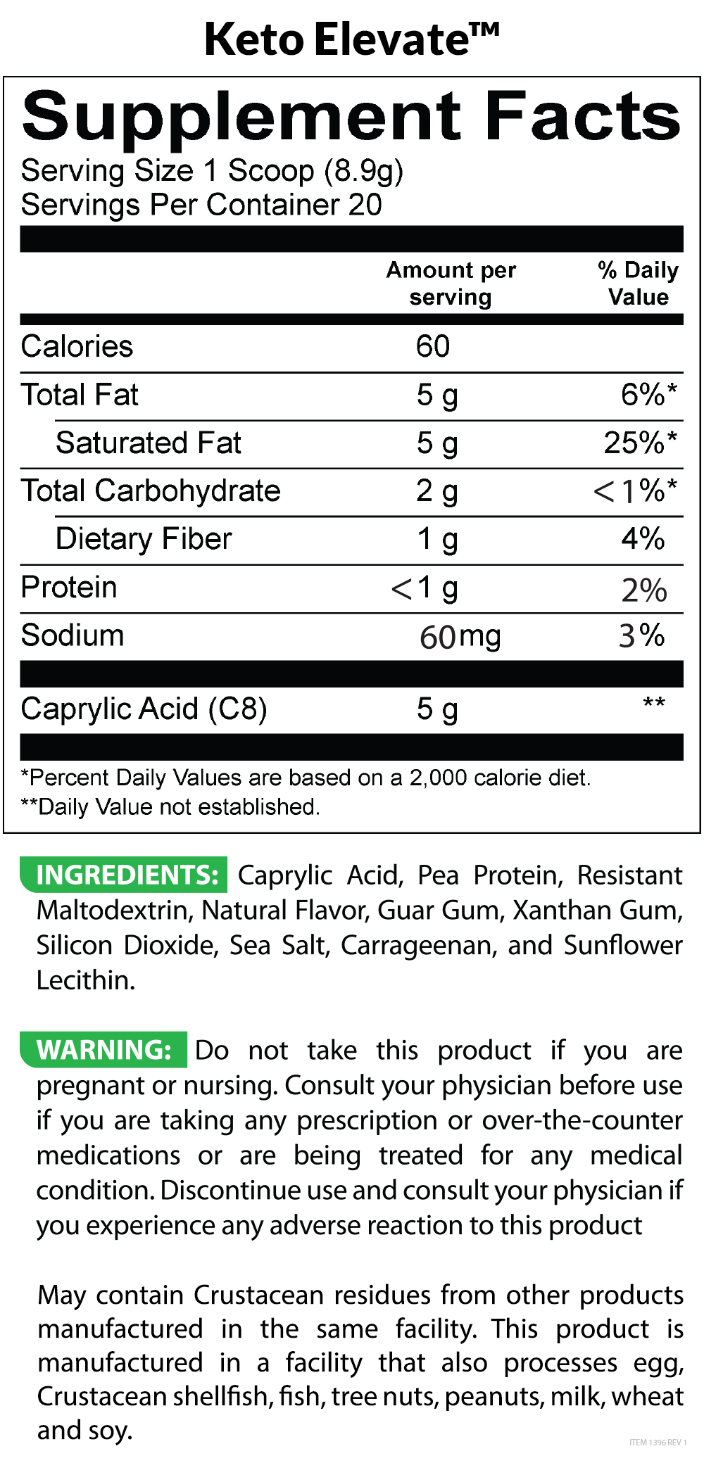 Keto Elevate Supplement Facts